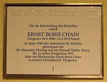 Berliner Gedenktafel Ernst Boris Chain